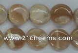 CSS228 15.5 inches 16mm flat round natural sunstone beads