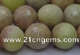 CSS616 15.5 inches 16mm faceted round yellow sunstone gemstone beads