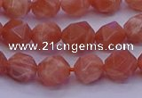 CSS682 15.5 inches 8mm faceted nuggets natural sunstone beads
