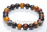 CTB01 6 inch 8mm round mixed color tiger eye bracelet Wholesale