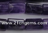 CTB106 15.5 inches 11*15mm faceted tube amethyst gemstone beads