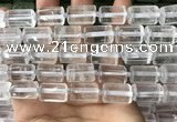 CTB615 15.5 inches 11*16mm - 12*18mm faceted tube white crystal beads