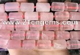 CTB650 15.5 inches 12*16mm faceted tube rose quartz beads