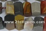 CTB762 6*10mm - 8*12mm faceted tube polychrome jasper beads