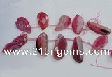CTD1568 Top drilled 25*45mm - 30*65mm freeform agate slab beads
