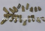 CTD1612 Top drilled 13*25mm - 15*45mm freeform plated druzy quartz beads