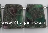 CTD200 Top drilled 20*24mm trapezoid fluorite & pyrite beads