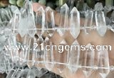 CTD2240 Top drilled 10*22mm - 12*45mm faceted nuggets white crystal beads