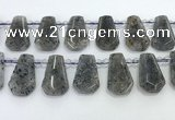 CTD2352 Top drilled 16*18mm - 20*30mm freeform moss quartz beads