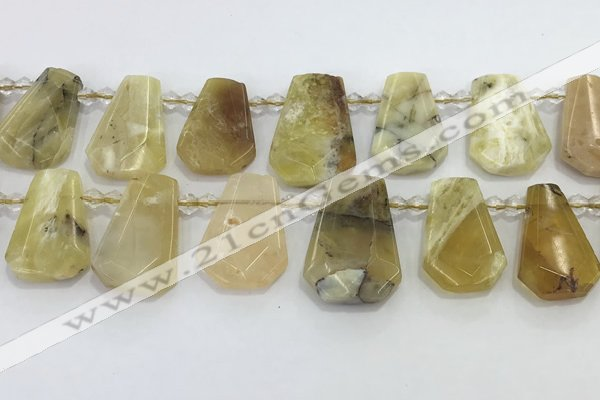 CTD2368 Top drilled 16*18mm - 20*30mm freeform yellow opal beads