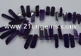 CTD2534 Top drilled 8*30mm - 11*50mm sticks agate gemstone beads