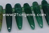 CTD2728 Top drilled 8*35mm bullet agate gemstone beads wholesale