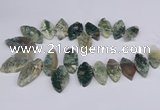 CTD2738 Top drilled 15*30mm - 25*50mm marquise moss agate beads