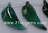 CTD2776 Top drilled 20*45mm - 25*55mm carved leaf agate beads