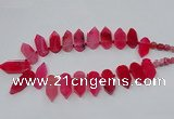 CTD2813 Top drilled 15*30mm - 15*45mm sticks agate gemstone beads