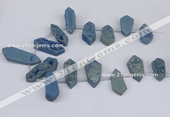 CTD2904 Top drilled 15*25mm - 25*55mm freeform plated druzy agate beads