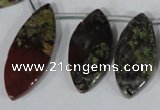 CTD33 Top drilled 10*24mm � 17*40mm marquise dragon blood jasper beads
