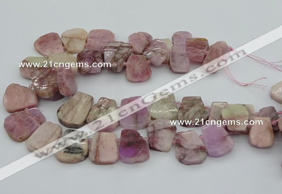 CTD3536 Top drilled 15*20mm - 25*30mm freeform pink kunzite beads