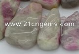 CTD3566 Top drilled 10*20mm - 20*45mm freeform pink tourmaline beads