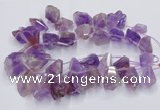 CTD3751 Top drilled 15*20mm - 25*30mm faceted nuggets amethyst beads