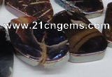 CTD574 Top drilled 20*30mm - 30*45mm freeform plated agate beads
