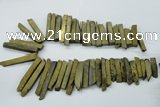 CTD832 15.5 inches 6*30mm - 8*65mm sticks plated agate beads