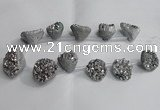 CTD991 Top drilled 12*15mm - 18*25mm nuggets plated druzy agate beads