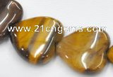 CTE06 15.5 inches 14mm heart yellow tiger eye beads wholesale