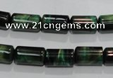 CTE1030 15.5 inches 8*14mm tube dyed green tiger eye beads wholesale
