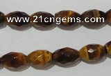 CTE1113 15.5 inches 8*12mm faceted rice yellow tiger eye beads