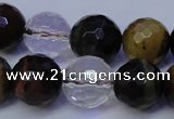 CTE1133 15 inches 10mm faceted round mixed tiger eye & white crystal beads