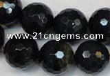 CTE1191 15.5 inches 16mm faceted round blue tiger eye beads