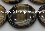 CTE1354 15.5 inches 40mm flat round yellow & blue tiger eye beads