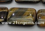 CTE1382 15.5 inches 22*30mm rectangle yellow & blue tiger eye beads