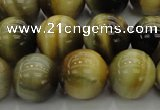 CTE1445 15.5 inches 14mm round golden & blue tiger eye beads