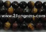 CTE1472 15.5 inches 8mm faceted round mixed tiger eye beads