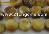 CTE1537 15.5 inches 12mm faceted coin golden tiger eye beads