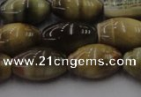 CTE1555 15.5 inches 12*16mm rice golden & blue tiger eye beads wholesale