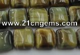 CTE1563 15.5 inches 10*10mm square golden & blue tiger eye beads wholesale