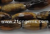 CTE1586 15.5 inches 8*18mm faceted rice yellow tiger eye beads
