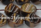 CTE1592 15.5 inches 13*18mm twisted rice yellow tiger eye beads