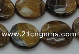 CTE1728 15.5 inches 18mm faceted coin yellow tiger eye beads