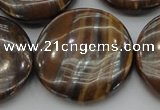 CTE1750 15.5 inches 30mm flat round iron tiger eye beads