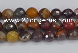 CTE1818 15.5 inches 4mm faceted round red iron tiger beads