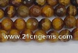 CTE1827 15.5 inches 6mm faceted round yellow tiger eye beads