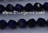 CTE1916 15.5 inches 6mm faceted nuggets blue tiger eye beads