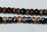 CTE200 15.5 inches 4*6mm faceted rondelle red & yellow tiger eye beads