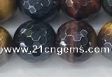 CTE2097 15.5 inches 14mm faceted round AB-color mixed tiger eye beads