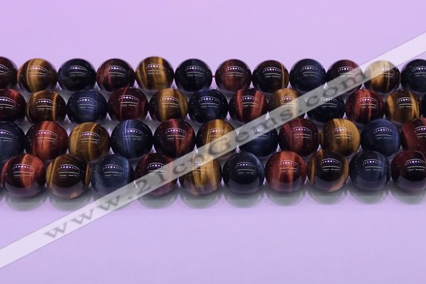 CTE2222 15.5 inches 12mm round colorful tiger eye gemstone beads
