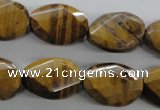 CTE321 15.5 inches 15*20mm twisted & faceted oval yellow tiger eye beads